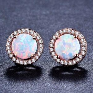Rose Gold Fire Opal Stud Earrings